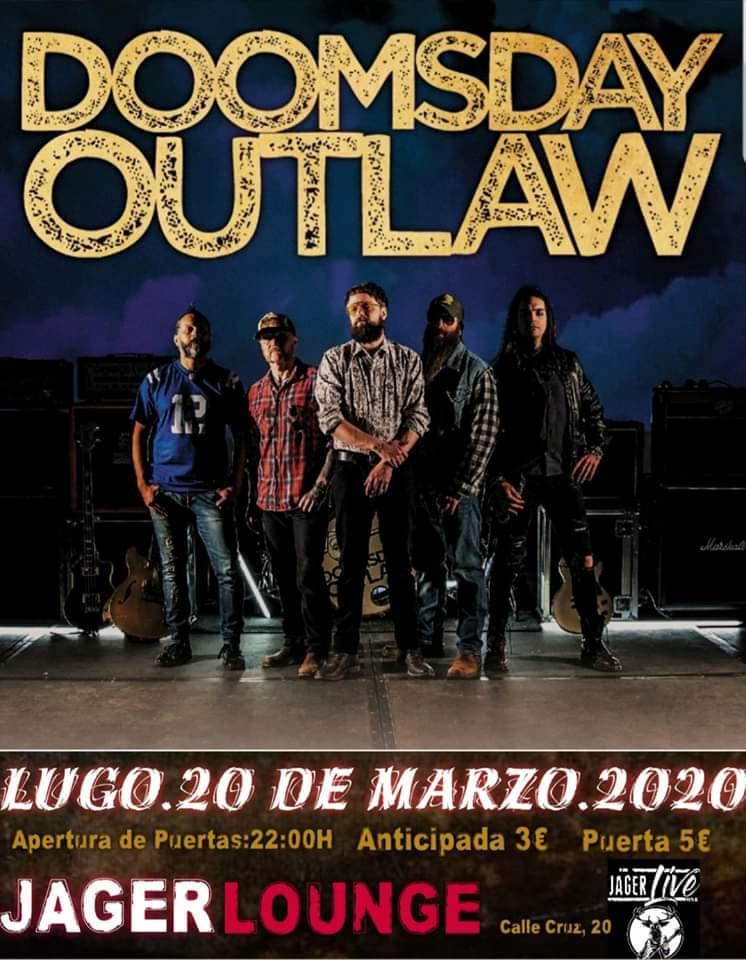Cartel del concierto de Doomsday Outlaw el viernes 20 de marzo en la JagerLounge.