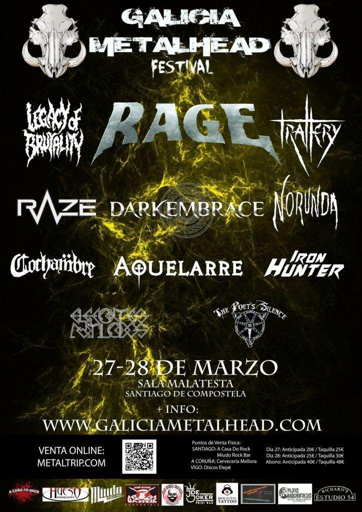 Cartel del festival de Galicia Metalhead en la Sala Malatesta, el 27 de marzo.