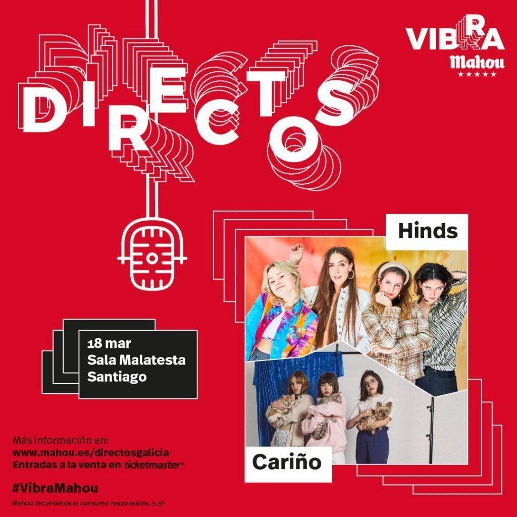 Cartel del concierto de las Hinds y Cariño el miercoles 18 de marzo en la Sala Malatesta de Santiago.