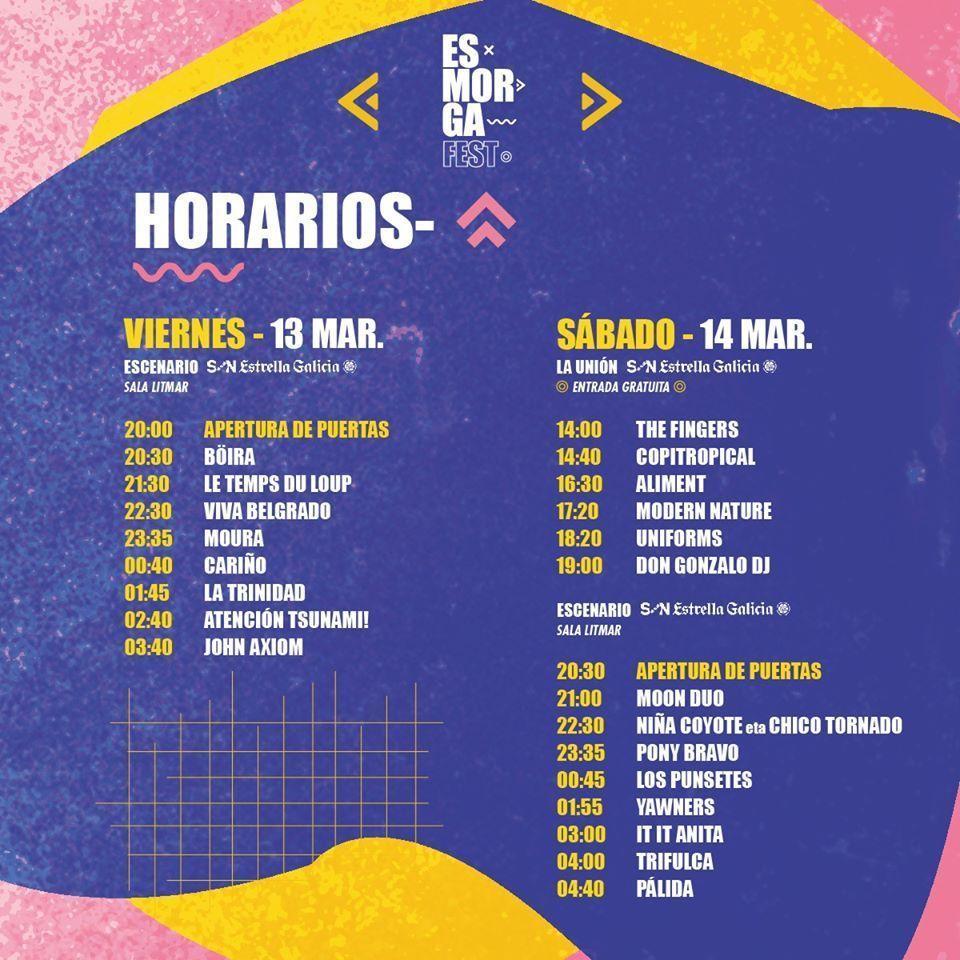 Horarios del Esmorga Fest 2020. Sarria.