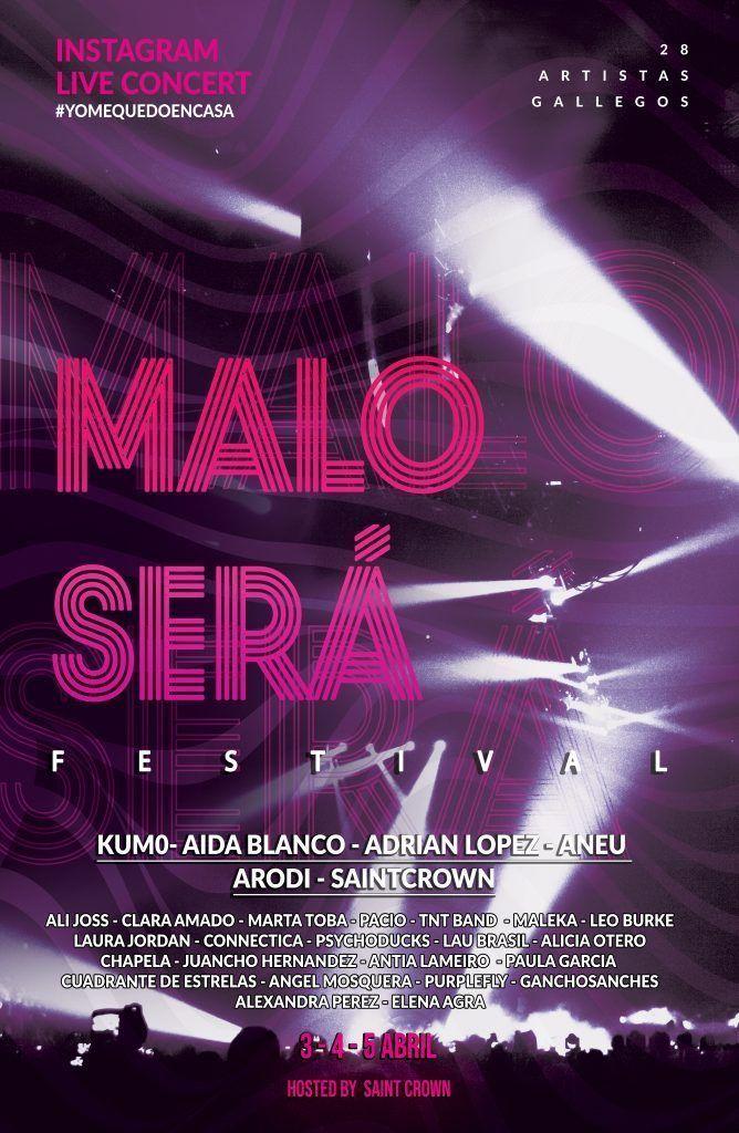Cartel del Maloserá Fest, que tendrá lugar el viernes 3, sábado 4 y domingo 5 de abril desde el perfil oficial del festival en Instagram