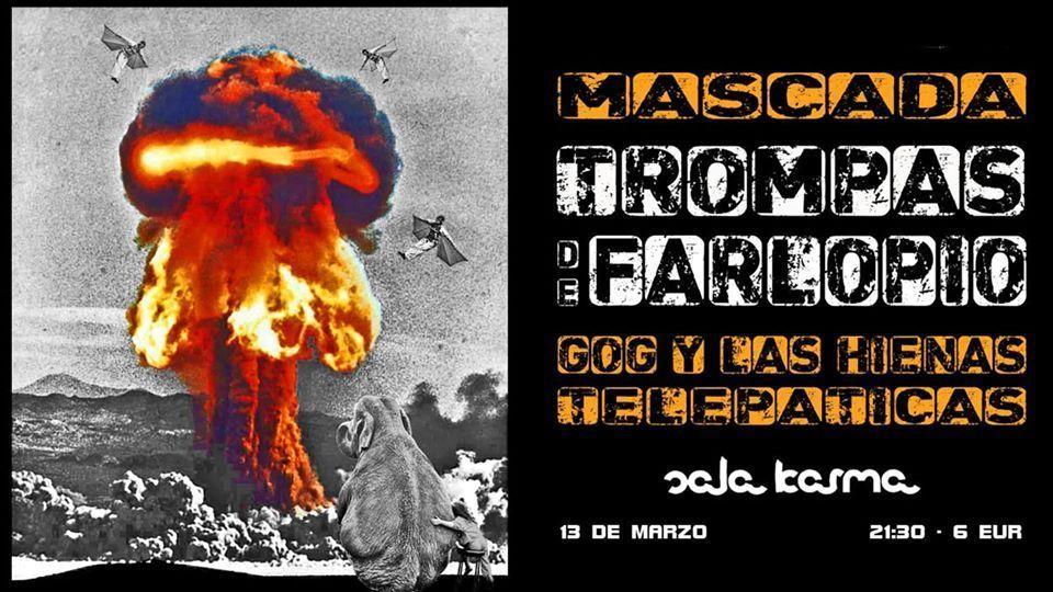 Cartel del concierto de Mascada, Trompas de Farlopio, Gog y Las Hienas Telepáticas en la Sala Karma el viernes 13 de marzo. Agenda de Pontevedra en marzo 2020.