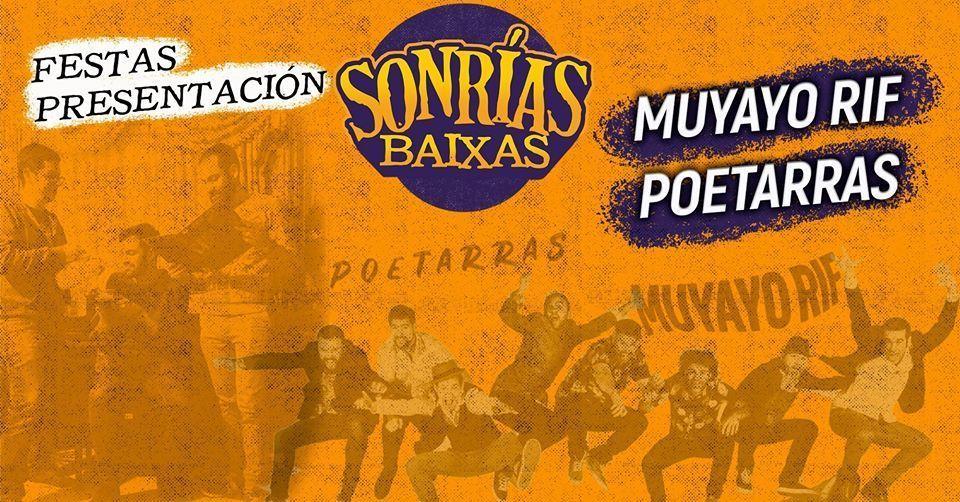 Cartel del concierto de presentación del SonRías en Santiago de Compostela. Estarán Muyayos y Poetarras el sábado 21.