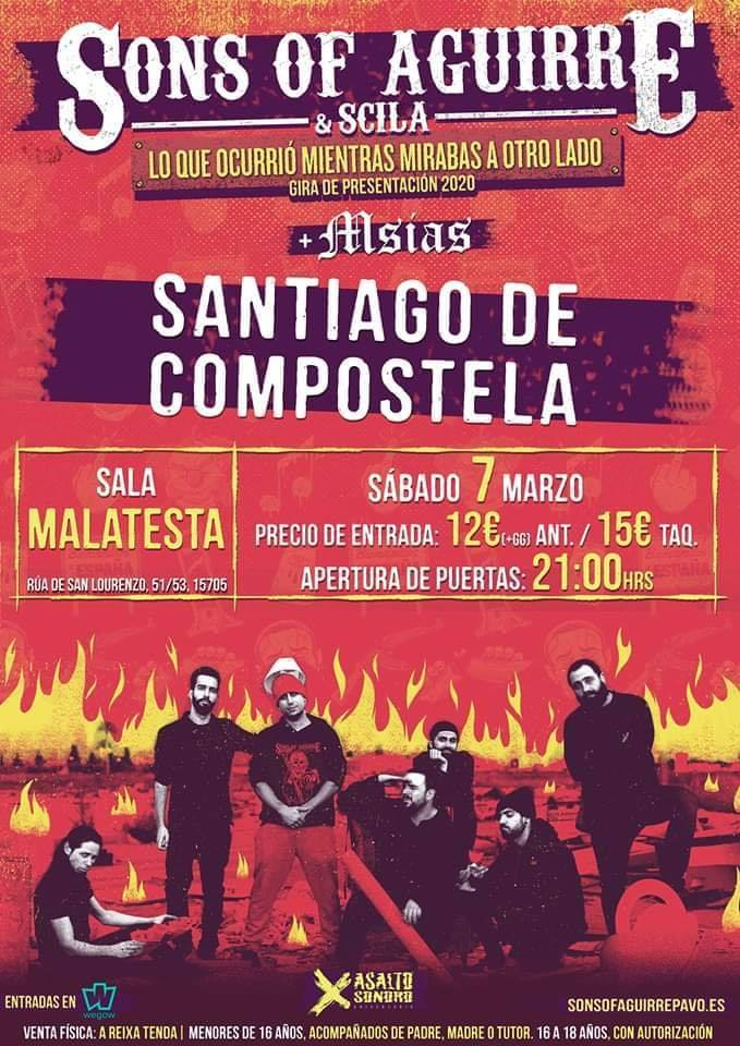 Cartel del concierto de Sons Of Aguirre el sábado 7 de marzo en la Sala Malatesta. Agenda de Santiago en marzo 2020.