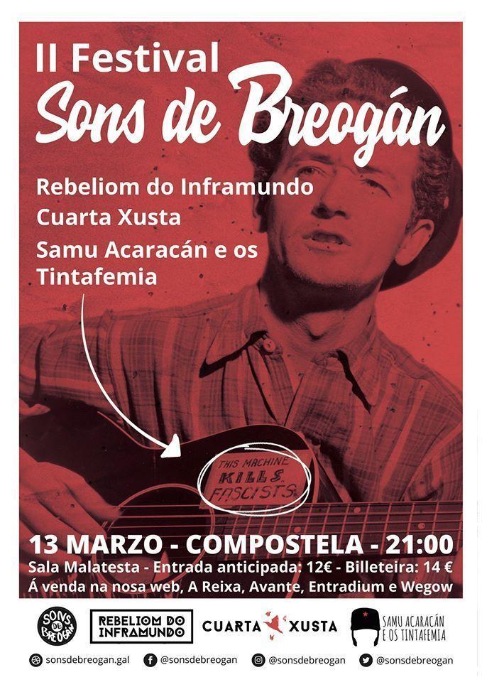 Cartel del festival Sons de Breogán en la Sala Malatesta de Santiago el viernes 13 de marzo. Agenda de Santiago en marzo 2020.