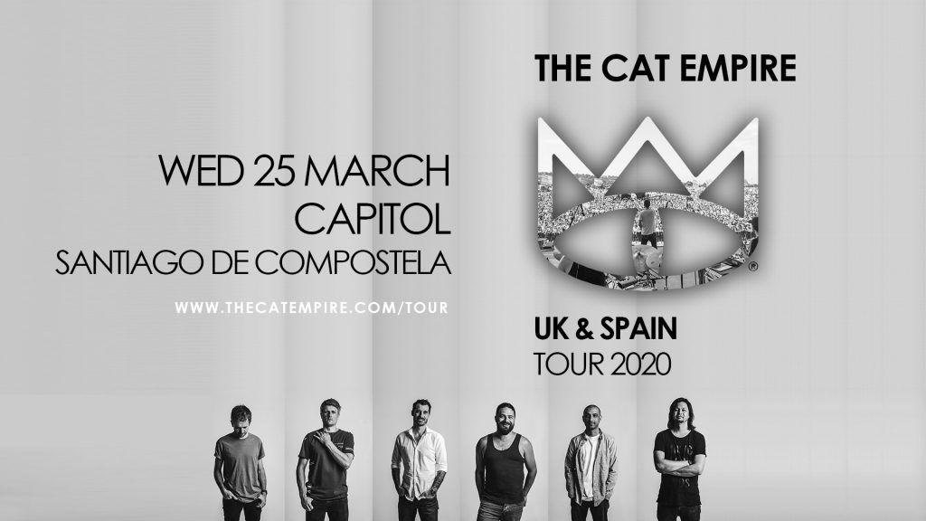 Cartel del concierto de los The Cat Empire el miércoles 25 de marzo en la Capitol, Santiago de Compostela.