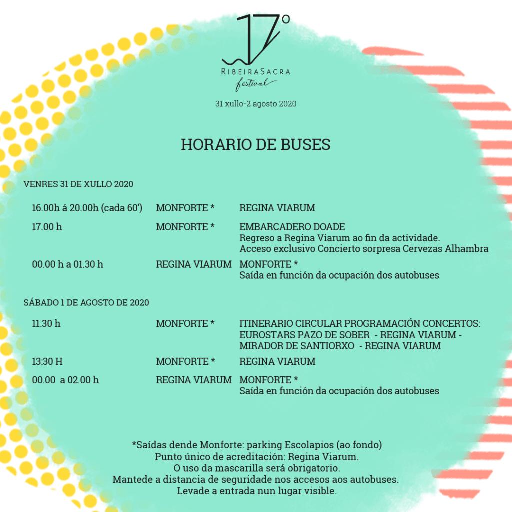 Cartel informativo del horario y buses del 17º Ribeira Sacra Festival 2020.