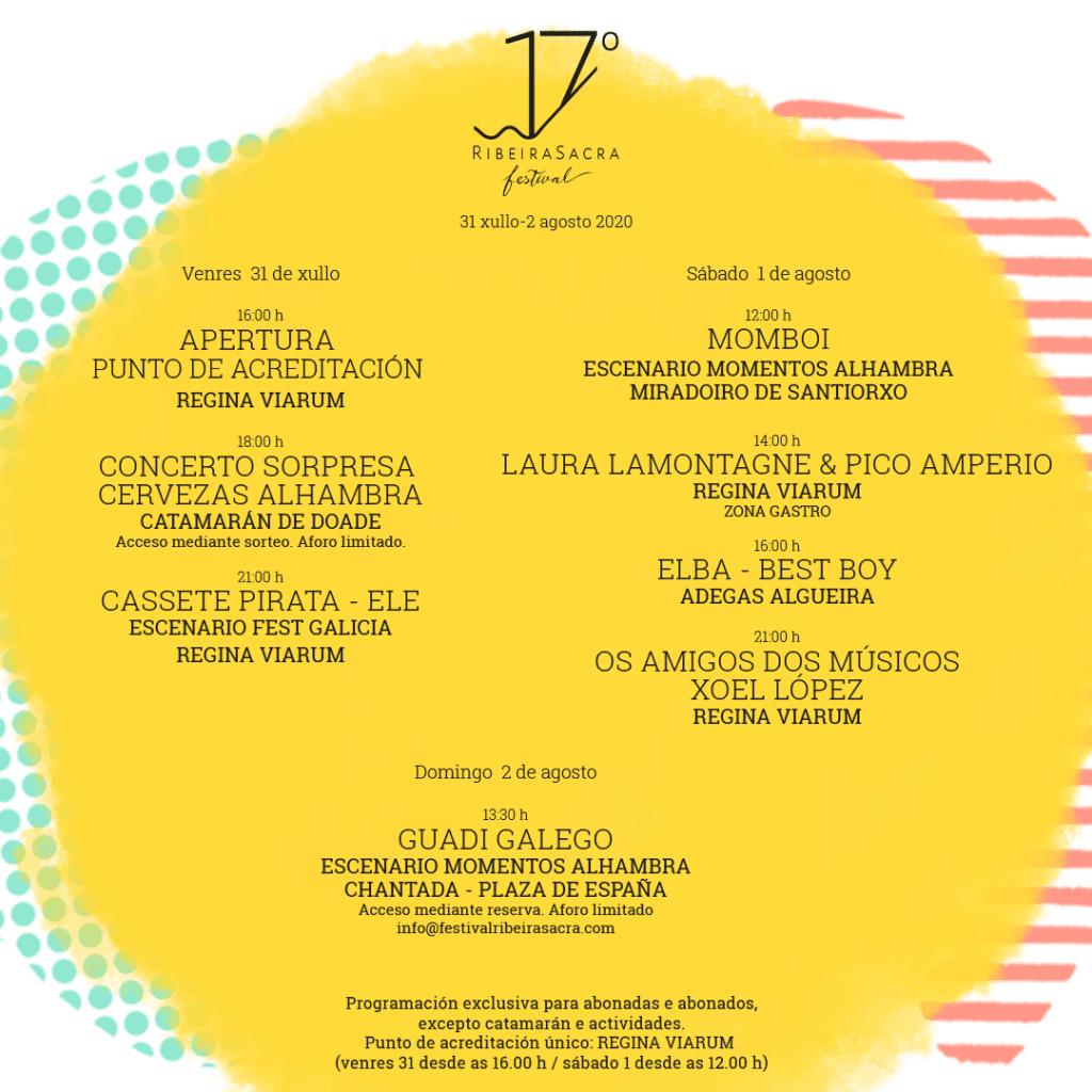 Cartel con los artistas y las ubicaciones del 17º Ribeira Sacra Festival 2020.