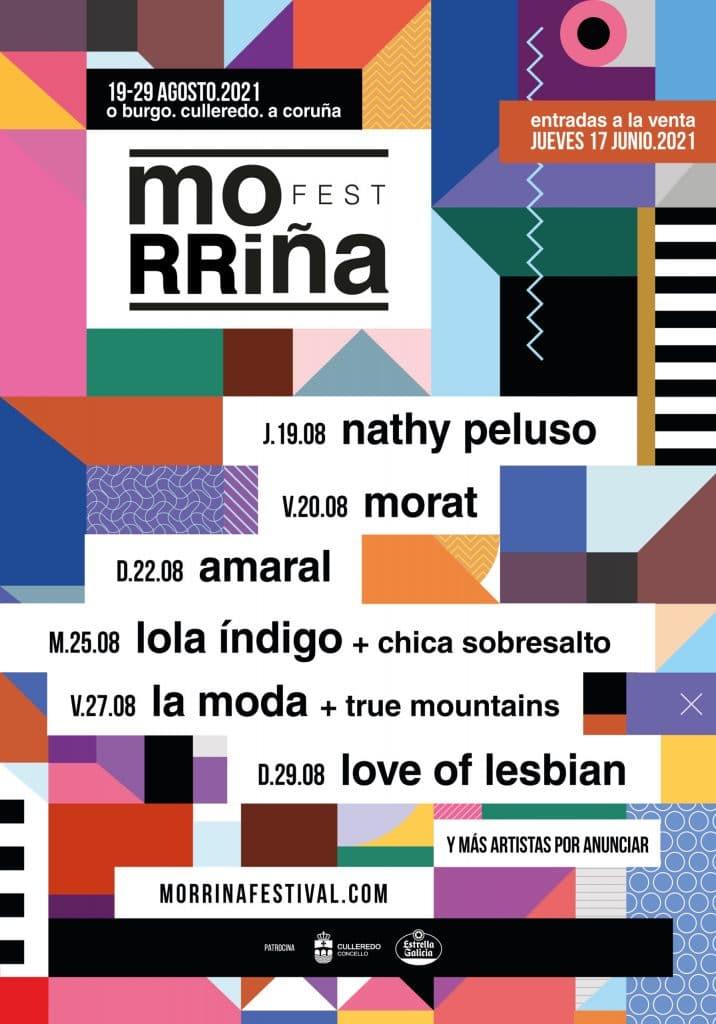 Cartel oficial del Morriña Fest con las fechas de actuación de cada banda y artistas.