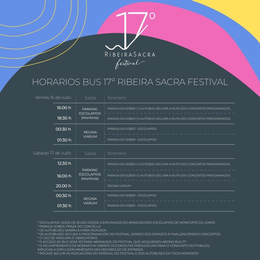 Horario del bus oficial del festival.