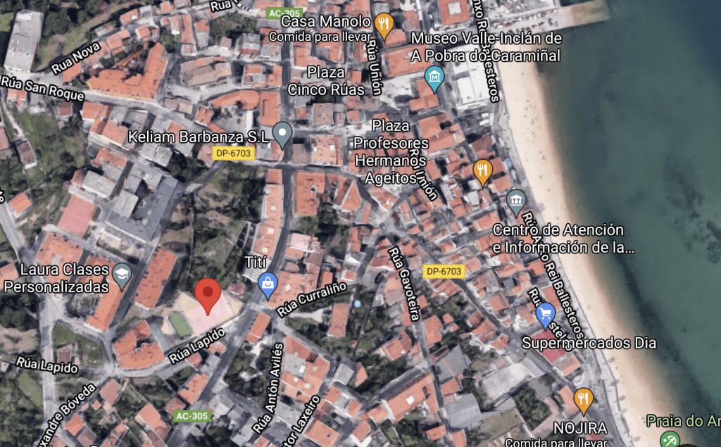 Captura de pantalla de Google Maps onde aparece a ubicación exacta do festival