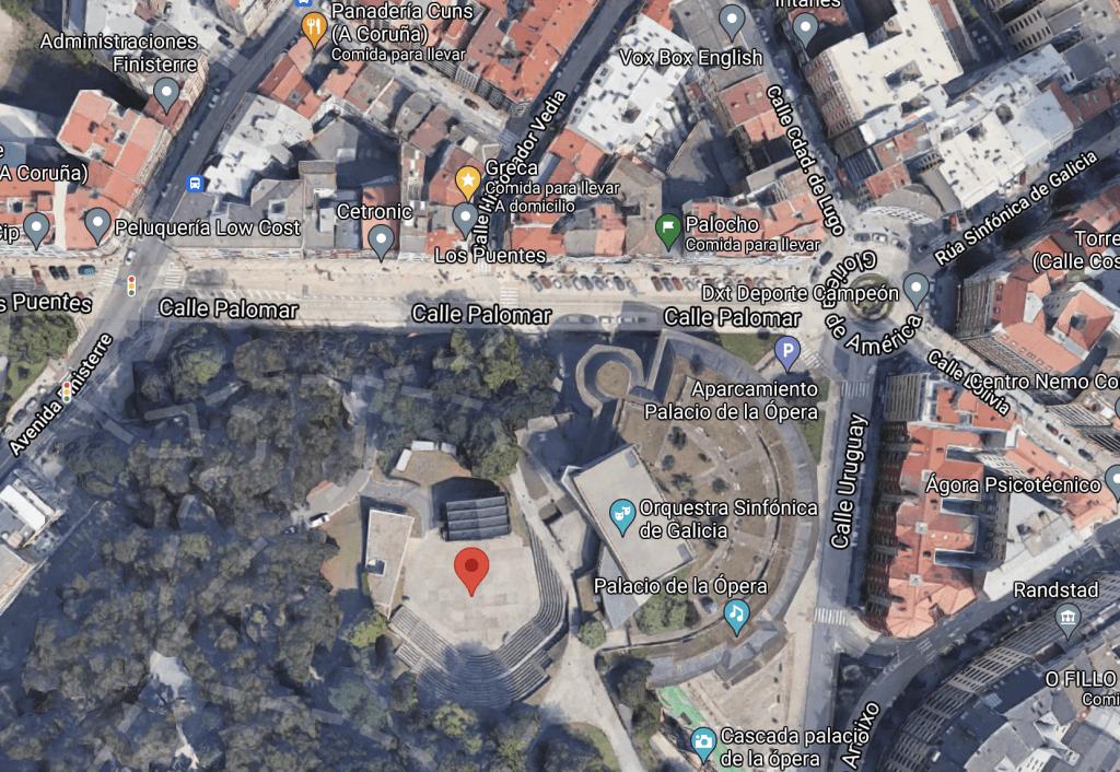 Captura de pantalla de Google Maps con la ubicación del festival.