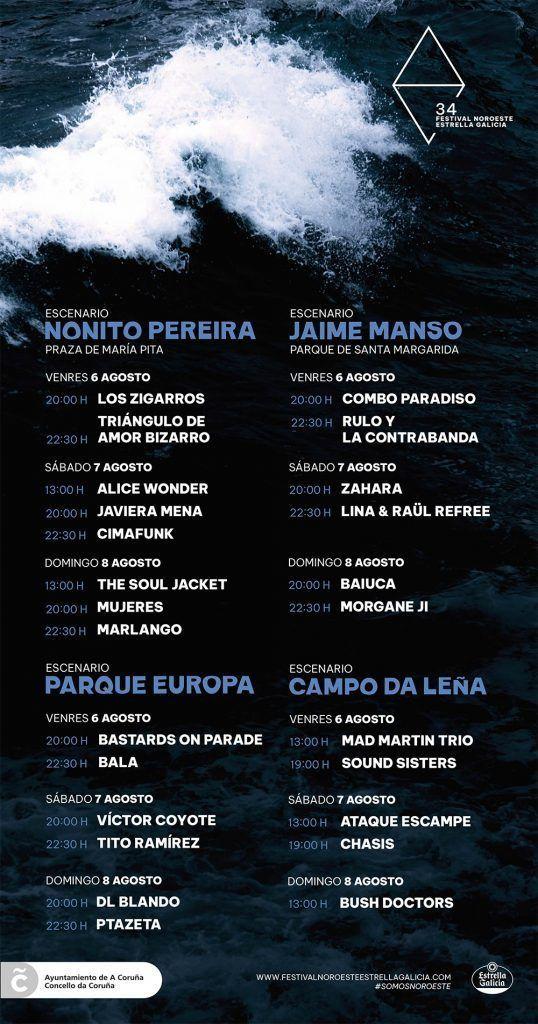 Cartel oficial del Festival Noroeste Estrella Galicia con los horarios y los escenarios donde tocará cada banda y artistas.