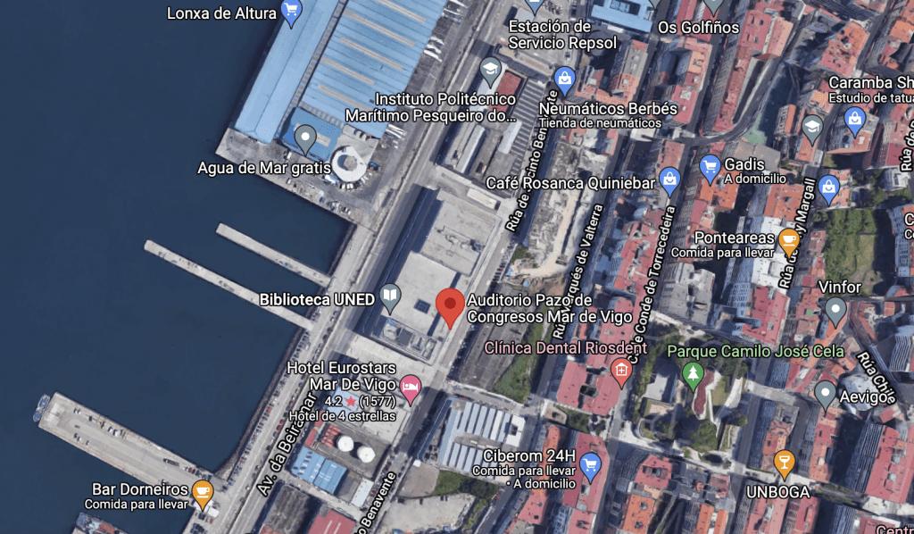 Captura de pantalla de Google Maps del Auditorio Mar de Vigo.